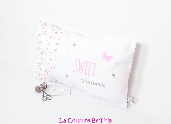 Coussin de décoration chambre bébé étoiles gris et rose glitter paillettes