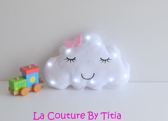 Veilleuse Led bébé nuage blanc et papillon rose