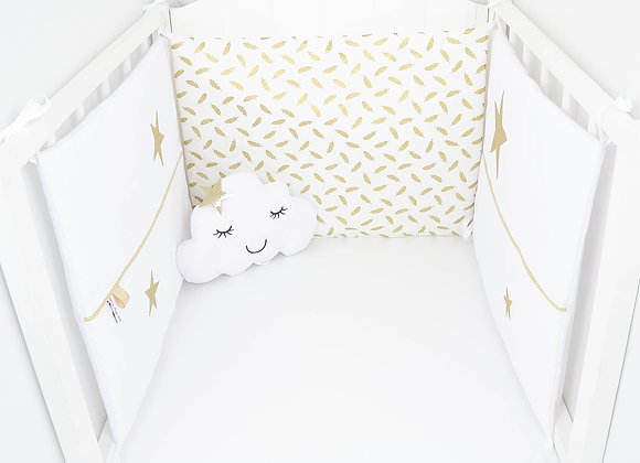 Tour de Lit blanc, plumes dorées et étoiles or