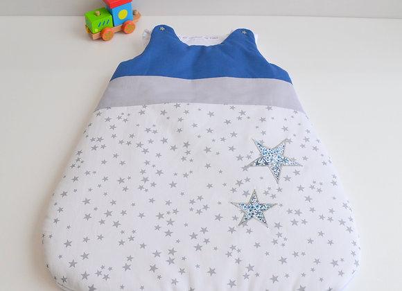 Turbulette gigoteuse gris blanc et étoiles Adelajda Bleu