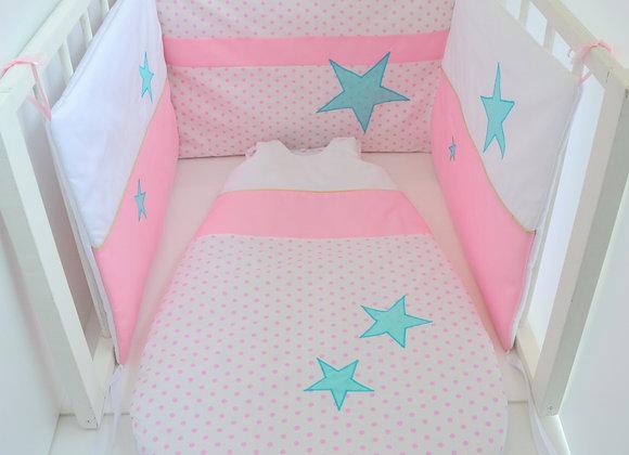Tour de Lit et Gigoteuse étoiles rose blanc et vert mint