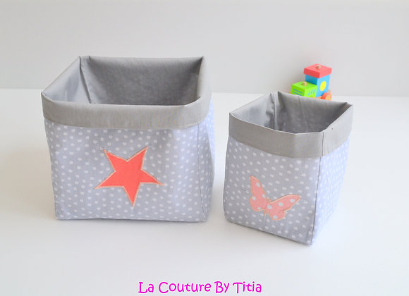 Lot de 2 panières corbeilles de rangement gris et corail étoile papillon