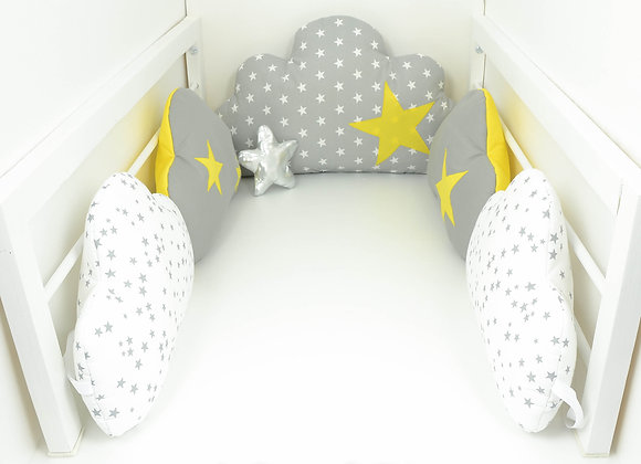 Tour de Lit nuage 5 coussins gris et étoiles jaune