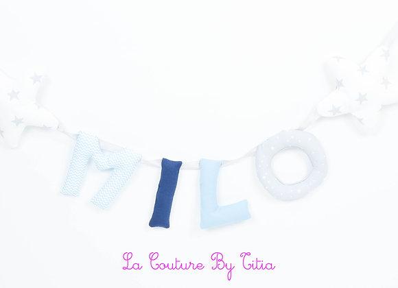 Guirlande prénom lettres décoration de chambre étoiles gris, blanc et turquoise