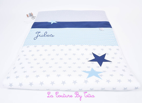 Couverture bébé personnalisable étoiles gris, chevron turquoise et bleu