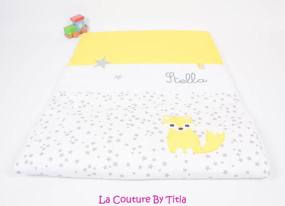 Couverture bébé personnalisable blanc étoiles glitter, gris et renard jaune