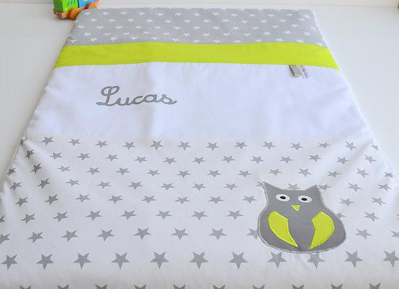 Couverture bébé personnalisable blanc étoile gris et hibou vert anis