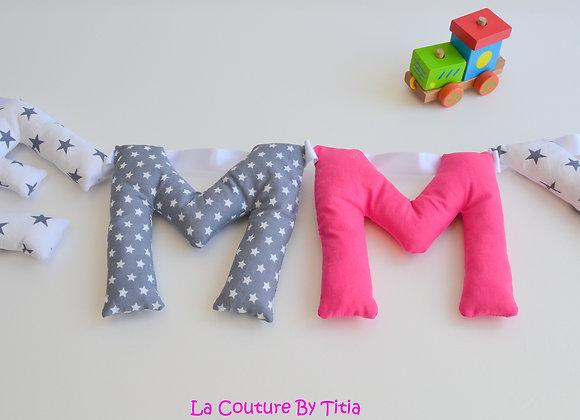 Guirlande prénom lettres décoration de chambre fait main Gris et rose