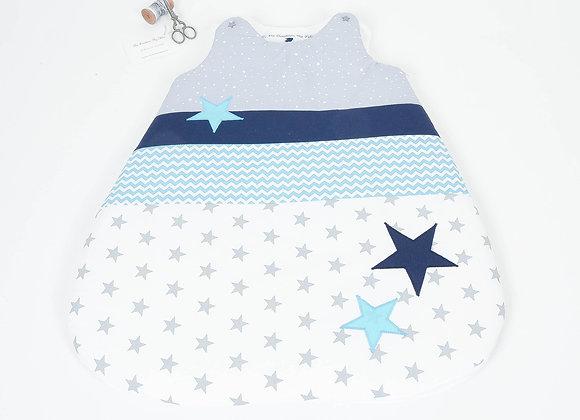 Turbulette gigoteuse étoiles gris, chevron turquoise et bleu marine