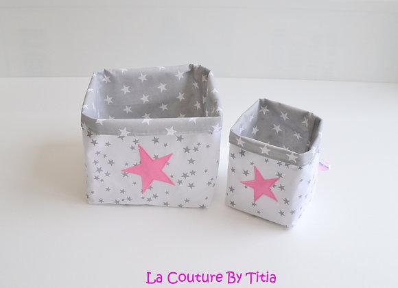 Lot de 2 panières corbeilles de rangement gris étoiles rose