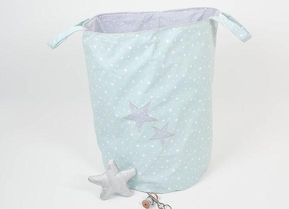 Corbeille à jouet 50 cms gris et étoiles vert d'eau