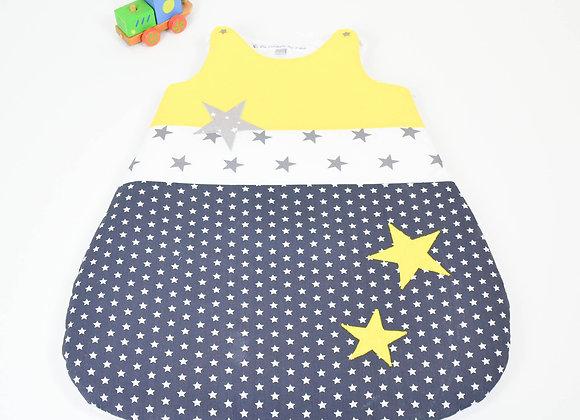 Turbulette gigoteuse étoiles gris étoiles jaune et gris clair