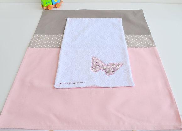 Housse de matelas à langer avec éponge taupe, rose et papillon Liberty Mitsi