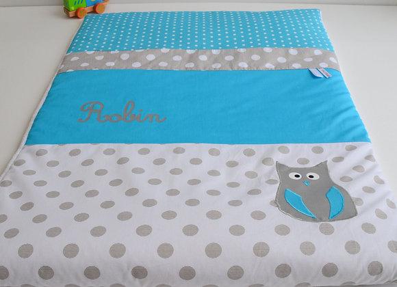 Couverture bébé personnalisable gris à pois, blanc et hibou bleu turquoise