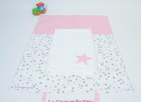 Housse de matelas à langer avec éponge blanc étoiles gris et koala rose