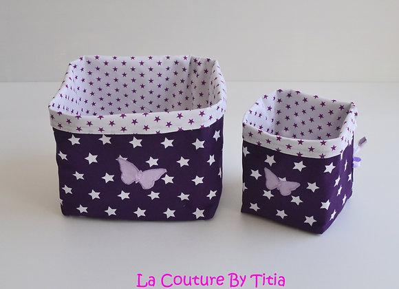 Lot de 2 panières corbeilles de rangement étoiles violet et papillon parme