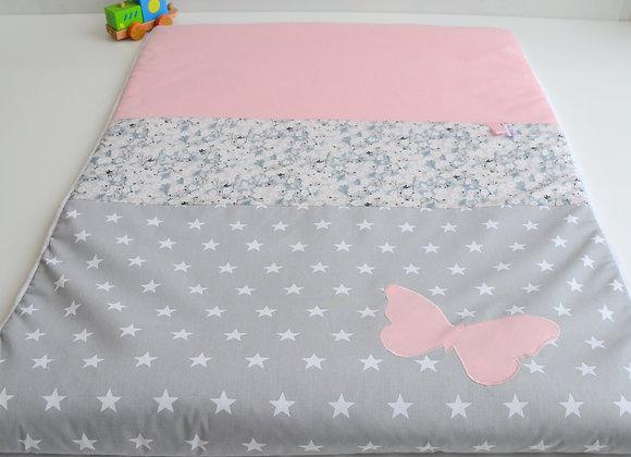 Couverture bébé personnalisable gris Liberty Mitsi perle et papillon rose