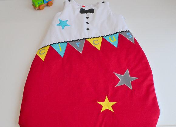 Turbulette gigoteuse étoiles blanc et rouge Thème Cirque