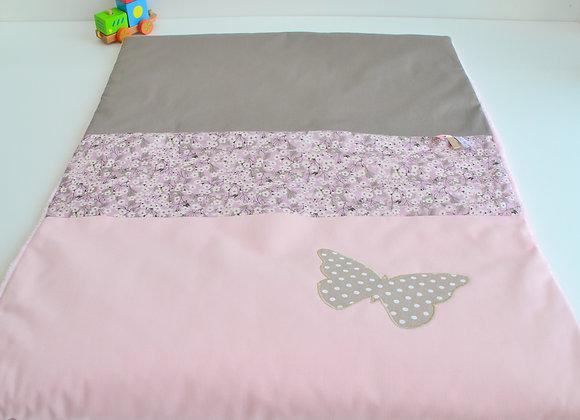 Couverture bébé personnalisable taupe, rose Liberty Mitsi parme
