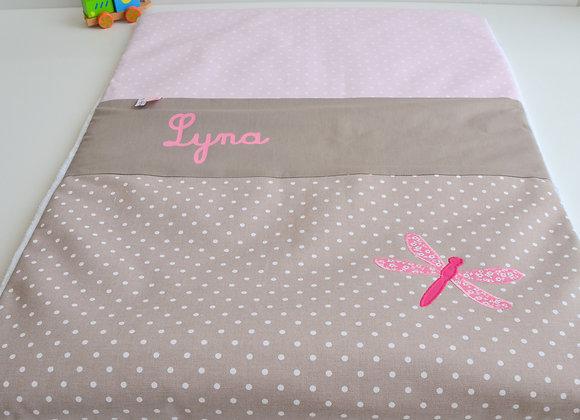 Couverture bébé personnalisable taupe à pois, vieux rose et Libellule Liberty