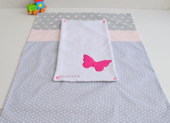 Housse de matelas à langer avec éponge papillon pois gris rose et framboise