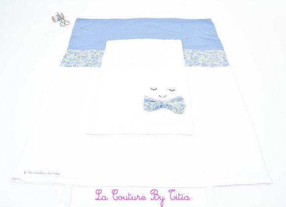 Housse de matelas à langer avec éponge blanc et noeud papillon Liberty Poppy