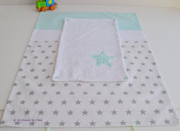 Housse de Matelas à langer avec éponge blanc étoiles gris et vert d'eau