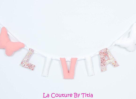 Guirlande prénom lettres décoration de chambre rose papillon blanc et b