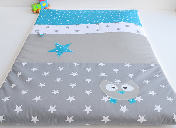 Couverture bébé personnalisable gris anthracite étoiles et hibou bleu pétrole