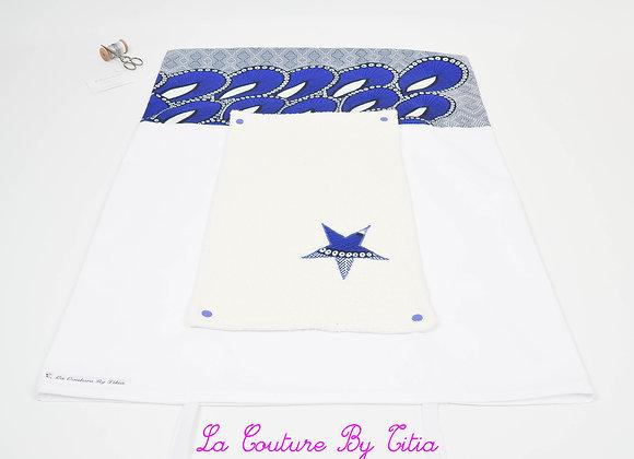 Housse de matelas à langer avec éponge blanc et étoiles wax bleu