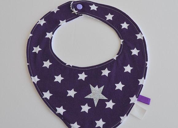 Bavoir violet, blanc et étoiles gris argent