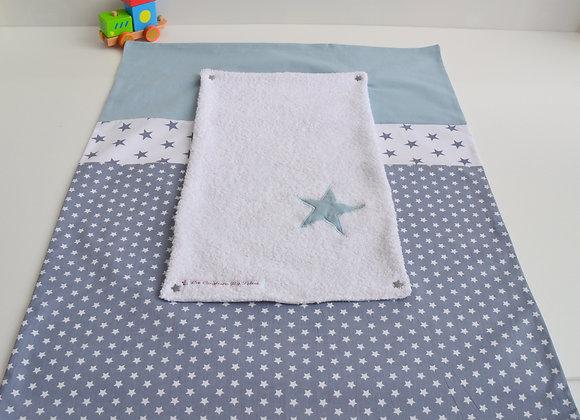 Housse de matelas à langer avec éponge gris et étoiles bleu gris