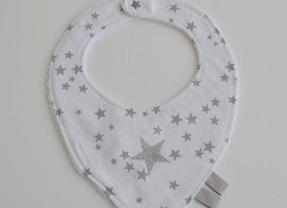 Bavoir blanc à petites étoiles grises et étoile gris argent