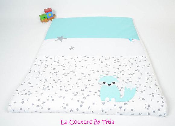 Couverture bébé personnalisable blanc étoiles glitter, gris et renard vert d'eau