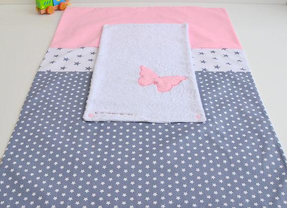 Housse de matelas à langer avec éponge gris et papillon rose