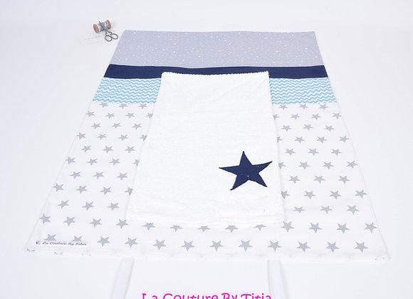 Housse de matelas à langer avec éponge étoiles gris, chevron turquoise et marine