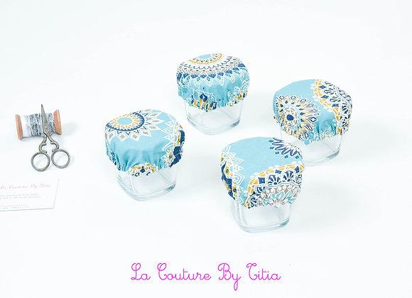 Lot de 4 charlottes pour yaourts, couvre plat enduit japonais bleu mandalas