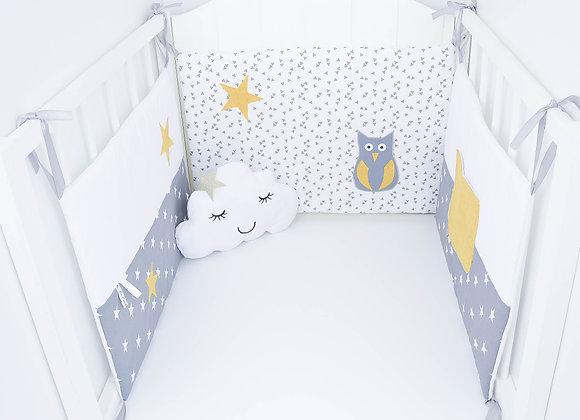 Tour de Lit étoiles gris anthracite, blanc, hibou et étoiles jaune moutarde