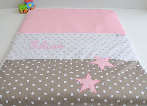 Couverture bébé personnalisable taupe à pois et étoiles rose