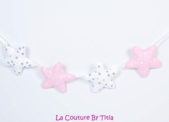 Guirlande étoiles décoration de chambre blanc pluie étoiles gris et rose