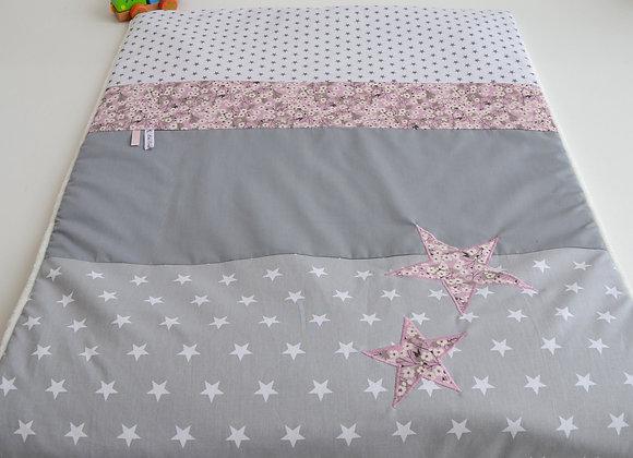 Couverture bébé personnalisable gris étoiles et Liberty Mitsi parme