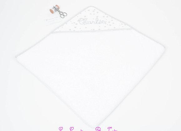 Cape de bain bébé en éponge bio gris, blanc et étoiles argent