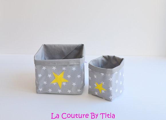 Lot de 2 panières corbeilles de rangement gris et étoiles jaune