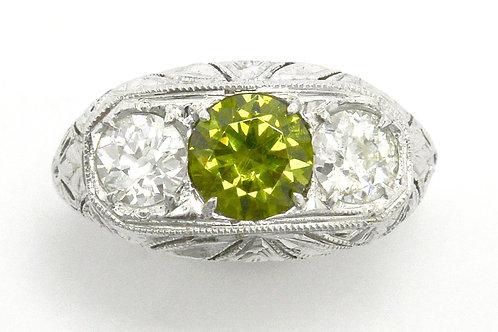 Russian Demantoid Garnet and diamond engagement ring