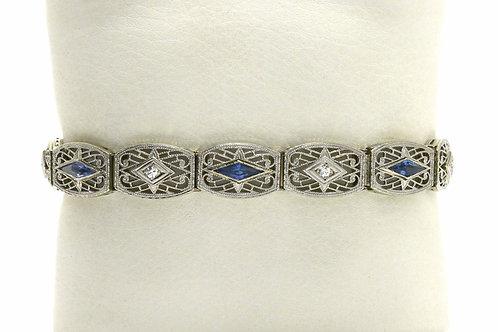 An antique diamond Art Deco platinum and white gold bracelet