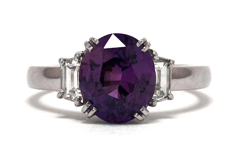A purple sapphire engagement ring 2 diamond accent 3 stone contemporary design