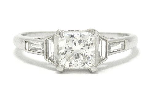 La Jolla Art Deco 1 carat princess diamond engagement ring.