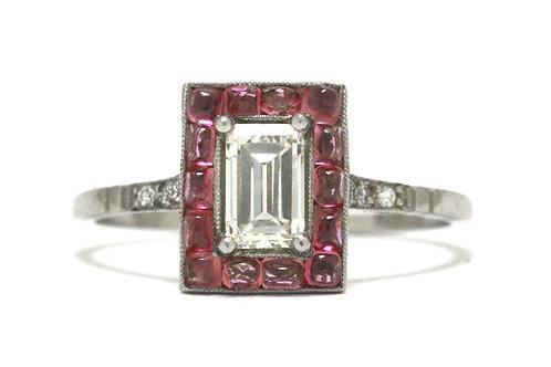 Hialeah Art Deco Engagement Ring Emerald Cut Diamond Pink Sapphire Halo Platinum