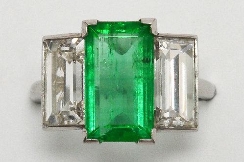 Emerald engagement ring 2 diamond platinum GIA