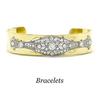 A diamond and gold antique Art Deco bracelet.